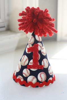 Baseball Birthday Party Hat. My friend made this adorable birthday hat for my sons first birthday. I love the vintage baseball and the red white and blue
