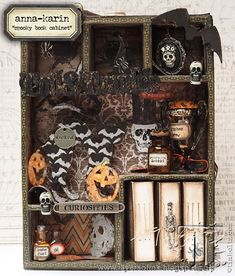 Tim Holtz Collection Everything Halloween from Idea-ology to dies, stamps & Halloween Shadow Box, Halloween Tags, Halloween 2016, Holidays Halloween, Happy Halloween, Halloween Apothecary, Halloween Queen, Halloween Paper Crafts, Halloween Projects