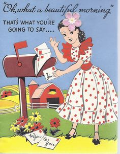 Oh, what a beautiful morning! #cards #vintage #illustrations