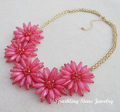 Red Cluster Floral Necklace,Fashion Bib Necklace,Statement Necklace,Bride / Bridesmaid Necklace, Party / Wedding Necklace