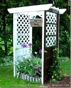 outdoor arbor made from 2 doors