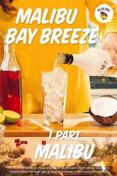 Malibu Bay BreezeSpice up your holiday feast with this easy-to-make Malibu Bay Breeze! The Malibu Bay Breeze is a holiday favorite, sure to get the party startin 'and your friends rockin'. Get ready to party Mixed Drinks Alcohol, Party Drinks Alcohol, Alcohol Drink Recipes, Liquor Drinks, Cocktail Drinks, Fun Drinks, Yummy Drinks, Fireball Mixed Drinks, Beverages