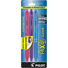 Pilot FriXion Clicker Erasable Gel Pens Fine Point 0.7 mm Assorted Barrels Assorted Ink Colors Pack Of 3 by Office Depot & OfficeMax