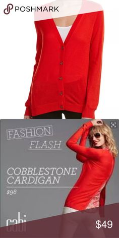 cabi Cobblestone Cardigan Fiery Red #3155 Sz Small This fiery red, silky soft cardigan features pretty buttons and an unexpected zipper up the back.  Play with the proportion of this go-to sweater to make it flowy or fitted, depending on your mood.  Wear on its own or layer with a top and show it off from the back!  See photo of label for content and care instructions. CAbi Sweaters Cardigans