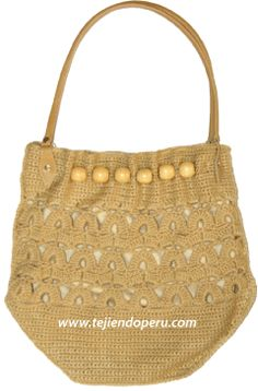 Tutorial: cartera o bolso con cuentas de madera tejido a crochet!