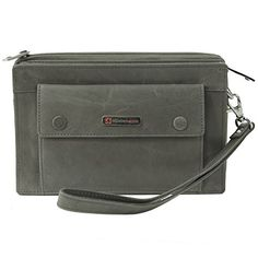 Alpine Swiss Mens Leather Clutch Bag Travel Case Organizer Wallet Gray ** Click on the image for additional details.