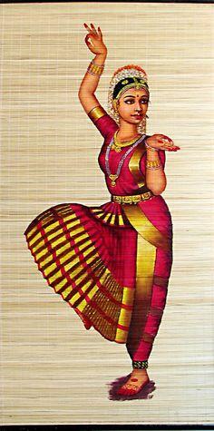 Bharatnatyam Dancer - (Wall Hanging) - Painting on Woven Bamboo Strands