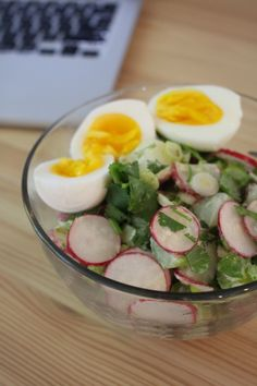 Potato salad with soft boiled eggs