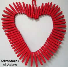 Clothespin Heart - a great Valentine's Day Activity for Preschoolers and Toddlers - they get to develop their fine motor skills