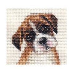 BOXER puppy, dog ~ Full counted cross stitch kit, all materials