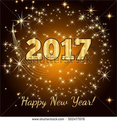 Gold glitter Happy New Year 2017 background. Vector background.Glittering texture. Sparkles with frame. Design element for festive banner, card, invitation. Greeting illustration for Xmas.