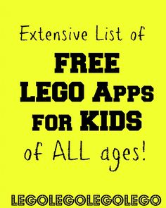 HUGE list of FREE LEGO apps for kids with descriptions for ages, in app purchases, etc. perfect for LEGO lovers