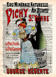 Vintage ad, French lady advertisement, 1896 vintage dictionary page book art print
