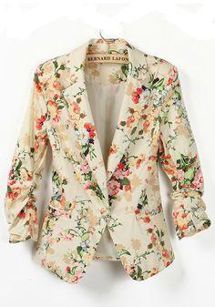 Multicolor Print Pleated Seven's Sleeve Cotton Blend Suit