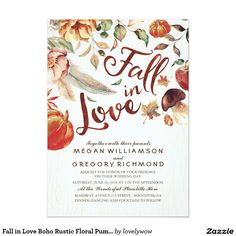 Fall in Love Boho Rustic Floral Pumpink Wedding