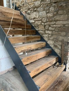 Rustic Staircase, Modern Staircase, Staircase Design, Future House, My House, Oak Sleepers, Chalet Design, Metal Stairs, House Stairs