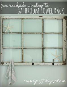 Tutorial: Recycled Window With Hooks Storage.  Display items behind glass including photos. Good for the bathroom, kitchen or entrance area. http://3.bp.blogspot.com/-VN_4QDn0ChA/UaamdncXHlI/AAAAAAAAFmU/fSJrkc0F21M/s1600/free+roadside+window+to+bathroom+towel+rack.jpg