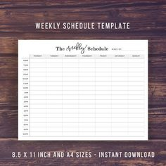 Weekly Schedule Printable Weekly Planner by PrintablePineapple