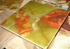 Dark Green Onyx Tiles 12x12x3/8 Well Polished on Italian Plant by  Italian Abrasive