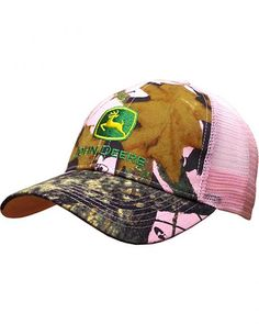 John Deere Women s Mossy Oak Mesh Back Cap Camouflage One Size  John Deere  Ladies Mossy Oak camo hat with a pink mesh back. There is an adjustable  snapback. 3870037dbe2e