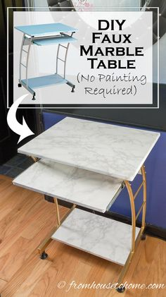 "DIY Faux Marble Table | Ever had a table that needed a little ""pick me up"", but didn't feel like painting it? Try this solution for a DIY Faux Marble Table, no painting required!"
