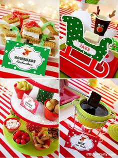 Rudolph Fondue Party for HGTV with Free Printables - ideas on DIY decorations, table setting, food and favors for kids Holiday celebrations! Christmas Lights Garland, Christmas Ornaments To Make, Christmas Treats, Christmas Cupcakes, Christmas Parties, Childrens Christmas, Preschool Christmas, Party Printables, Free Printables