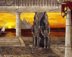 Ancient Egypt Wall Mural 8 x 20 feet. in Home Office by Tom Taylor of Wow Effects, hand-painted in Virginia.