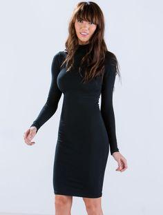 Vestido gasa manga larga-negro 14.44