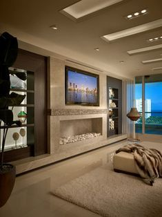 New living room modern fireplace basements 25 ideas Elegant Home Decor, Elegant Homes, Living Room Modern, Living Room Designs, Living Rooms, Apartment Living, Narrow Living Room, Small Living, Rustic Fireplaces