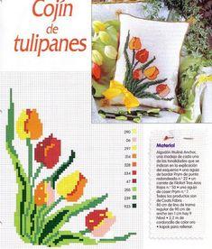 tulipanes | laboresdeesther Punto de cruz gratis