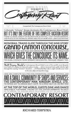 Contemporary Resort Typography by Richard Terpstra. Would be sooo cute as a background paper in a scrapook! Disney World Resorts, Disney Parks, Walt Disney World, Disney Bound, Disney Worlds, Disney Typography, Disney Fonts, Disney Printables, Disney Posters