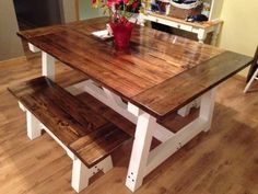New High Quality Farm Table with 2 benches. Seats 2 on a bench. 3 coats of satin poly to the top. Base was primed with kilz enamel and 2 coats of exterior behr semi- gloss enamel. Can deliver!!!...