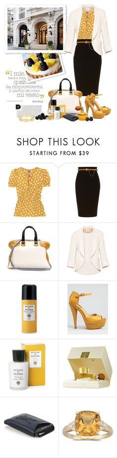 """""""Colour Blocking: White, Safran and Black"""" by bellamorte-113 ❤ liked on Polyvore featuring Tory Burch, Jane Norman, Fendi, Wilfred, Acqua di Parma, Rachel Zoe, Yves Saint Laurent, Tiffany & Co., white and black"""