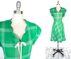 Cotton Side button, mended at waist seam. Sold Vintage 1930s Dress  Depression Era Kelly Green Plaid by MinxVTG