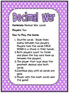 "FREE MATH LESSON - ""Decimal War Card Game"" - Go to The Best of Teacher Entrepreneurs for this and hundreds of free lessons.  #FreeLesson   #TeachersPayTeachers   #TPT   #Math   http://thebestofteacherentrepreneurs.blogspot.com/2011/12/free-math-lesson-decimal-war-card-game.html"