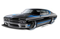 Awesome attention to detail from Ragle Design 70 chevelle pro touring rendering custom bumper ground effects body kit front line drawing rear sketch spoiler Cool Car Drawings, Chevy Chevelle Ss, Custom Muscle Cars, Car Posters, Automotive Design, Hot Cars, Street Rods, Concept Cars, American