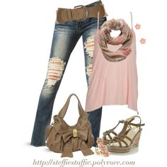Ripped jeans, Floral scarf  Bow bag