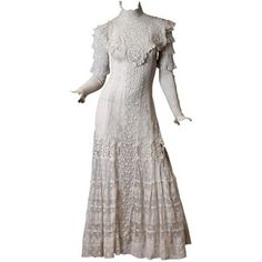This Is A Breathtaking Mesh And Lace Tea Gown From The Early 20th Century, Most Likely Made Between 1908 And 1912.