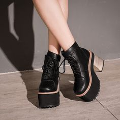 (38.98$)  Watch here  - botas mujer winter shoes women snow boots high heels motorcycle ankle boots for women platform boots punk shoes white boots D916