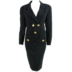 Preowned 1990's Chanel Dress With Faux Blazer Styling (2.225 BRL) ❤ liked on Polyvore featuring dresses, black, chanel, vintage dresses, lightweight dresses, long dresses and v neck dress