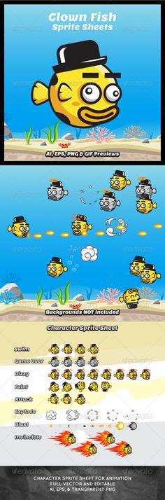 Game Asset - Clown Fish Sprite Sheets - Sprites Game Assets