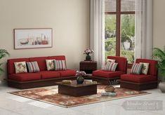 784740460 Buy Dwayne Low Floor 3+1+1 Wooden Sofa Set (Dusky Rose