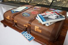 a vintage suitcase cake for the Bob Hope family for the dedication ceremony of the Bob Hope Memorial Library at Ellis Island. Luggage Cake, Suitcase Cake, Bob Hope, Personal Library, Ellis Island, Fashion Cakes, Fondant Cakes, Cake Art, Amazing Cakes