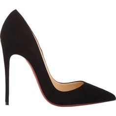 Christian Louboutin So Kate Pumps (€615) ❤ liked on Polyvore featuring shoes, pumps, heels, christian louboutin, sapatos, black, suede pumps, black heel pumps, red soled black pumps and pointed-toe pumps