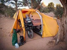 Motorcycle Camping Shelters - Redverz Tenere Expedition Tent Shields the Vehicle from Rain (GALLERY)