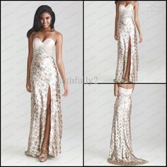 Wholesale New Sweetheart Champagne Prom Dress Sequins Lace Colorful Beads Belt Side Split Evening Dress P6624, Free shipping, $133.28-146.72/Piece | DHgate