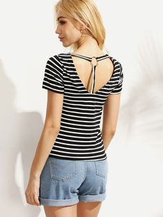 Buy Black White Striped Ring Accent Back T-shirt from abaday.com, FREE shipping Worldwide - Fashion Clothing, Latest Street Fashion At Abaday.com