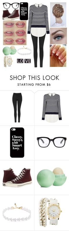 """""""smart"""" by neri-berry ❤ liked on Polyvore featuring Topshop, Casetify, Forever 21, Converse, Eos, Charlotte Russe and Givenchy"""