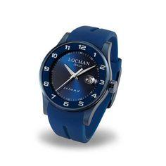 Questo splendido orologio segnatempo con datario di colore blu è della serie Locman Island, ispirata all'isola d' Elba, patria di questi favolosi marcatempo