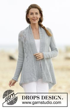 """Knitted DROPS jacket with #lace pattern in """"Alpaca"""" and """"Kid-Silk"""". Pattern online for free #DROPSDesign #knitting"""